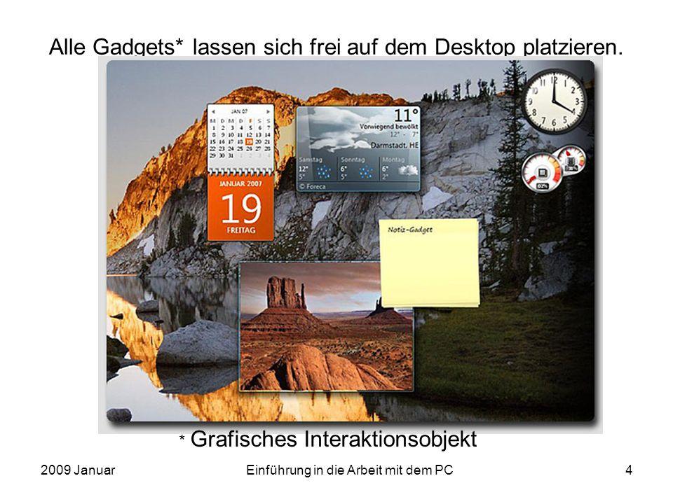2009 JanuarEinführung in die Arbeit mit dem PC4 Alle Gadgets* lassen sich frei auf dem Desktop platzieren. * Grafisches Interaktionsobjekt