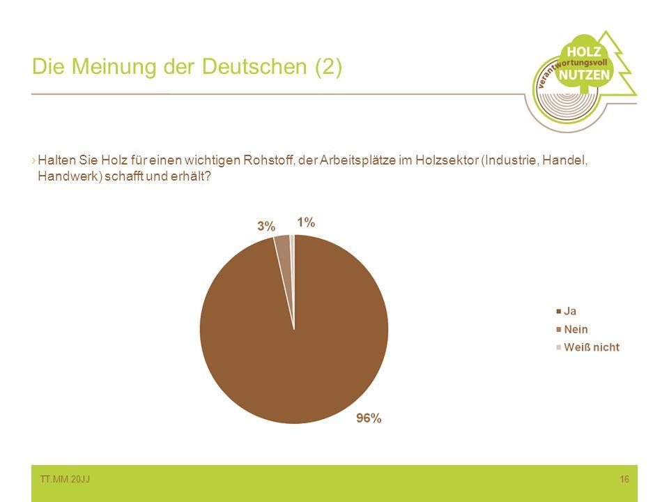Die Meinung der Deutschen (2) Halten Sie Holz für einen wichtigen Rohstoff, der Arbeitsplätze im Holzsektor (Industrie, Handel, Handwerk) schafft und