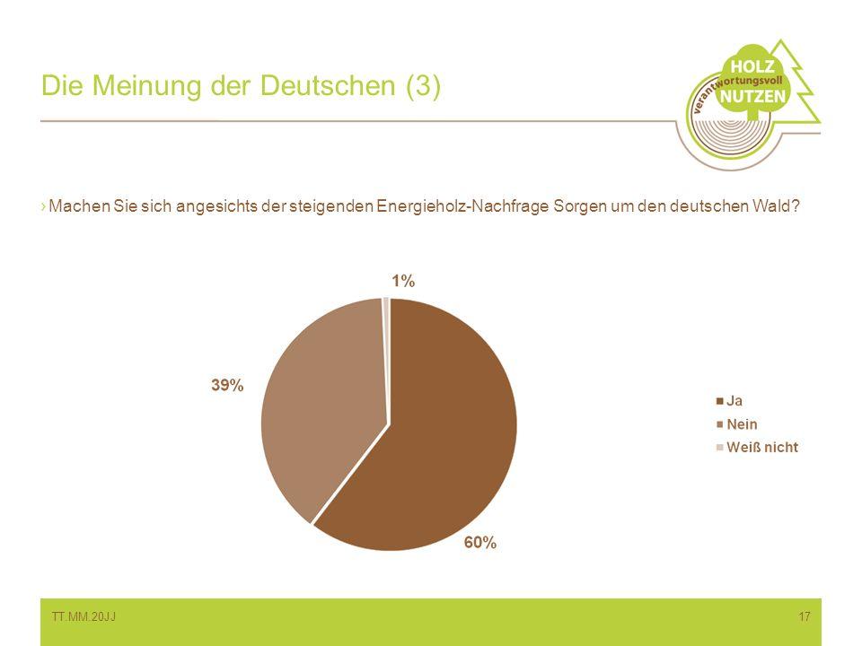 Die Meinung der Deutschen (3) Machen Sie sich angesichts der steigenden Energieholz-Nachfrage Sorgen um den deutschen Wald? TT.MM.20JJ17