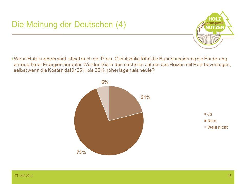 Die Meinung der Deutschen (4) Wenn Holz knapper wird, steigt auch der Preis. Gleichzeitig fährt die Bundesregierung die Förderung erneuerbarer Energie
