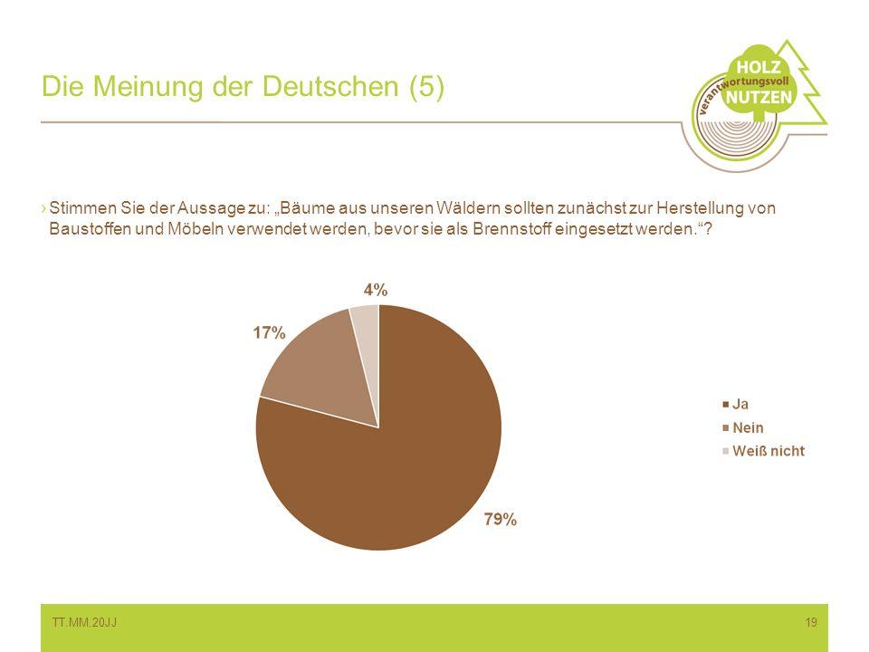 Die Meinung der Deutschen (5) Stimmen Sie der Aussage zu: Bäume aus unseren Wäldern sollten zunächst zur Herstellung von Baustoffen und Möbeln verwend