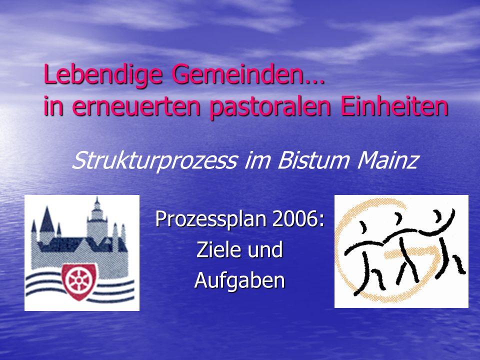 Lebendige Gemeinden… in erneuerten pastoralen Einheiten Prozessplan 2006: Ziele und Aufgaben Strukturprozess im Bistum Mainz