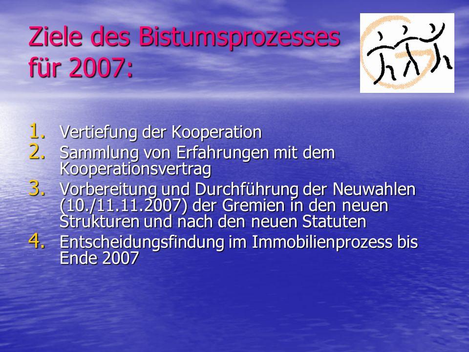Ziele des Bistumsprozesses für 2007: 1. Vertiefung der Kooperation 2. Sammlung von Erfahrungen mit dem Kooperationsvertrag 3. Vorbereitung und Durchfü
