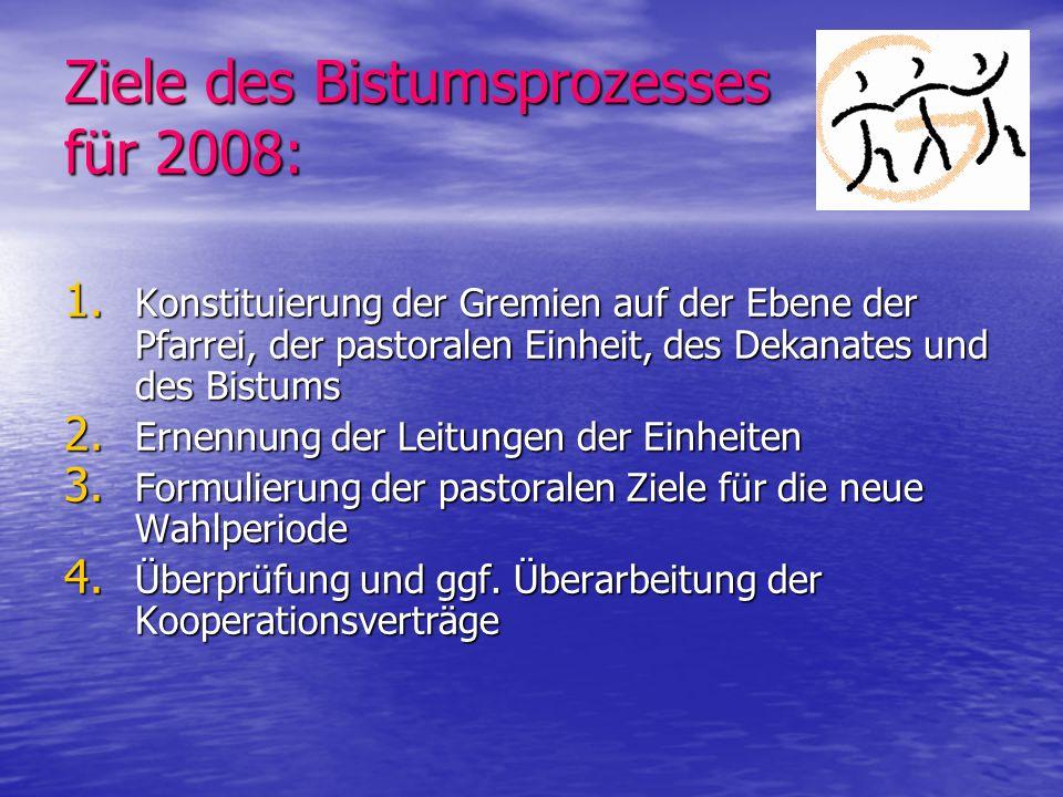 Ziele des Bistumsprozesses für 2008: 1. Konstituierung der Gremien auf der Ebene der Pfarrei, der pastoralen Einheit, des Dekanates und des Bistums 2.