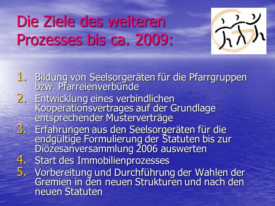 Die Ziele des weiteren Prozesses bis ca. 2009: 1. Bildung von Seelsorgeräten für die Pfarrgruppen bzw. Pfarreienverbünde 2. Entwicklung eines verbindl