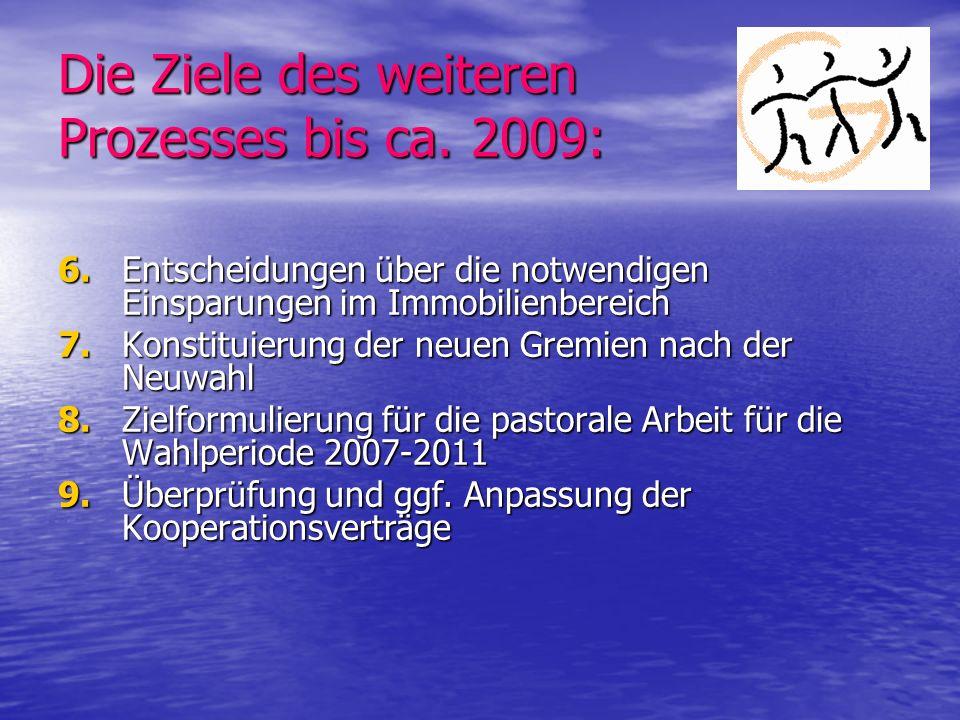 Die Ziele des weiteren Prozesses bis ca. 2009: 6.Entscheidungen über die notwendigen Einsparungen im Immobilienbereich 7. Konstituierung der neuen Gre