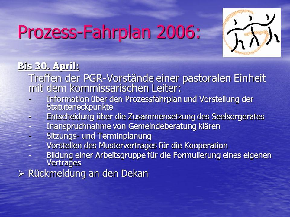 Prozess-Fahrplan 2006: Bis 30. April: Treffen der PGR-Vorstände einer pastoralen Einheit mit dem kommissarischen Leiter: - Information über den Prozes