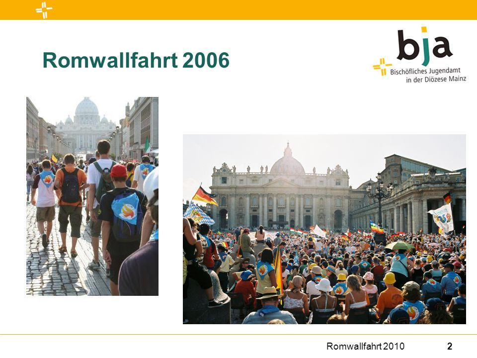 Romwallfahrt 201013 Teilnahme und Anmeldung Teilnahme und Aufsichtspersonen Teilnehmen können Ministrant/innen, die zu Beginn der Wallfahrt mindestens 13 Jahre alt sind.