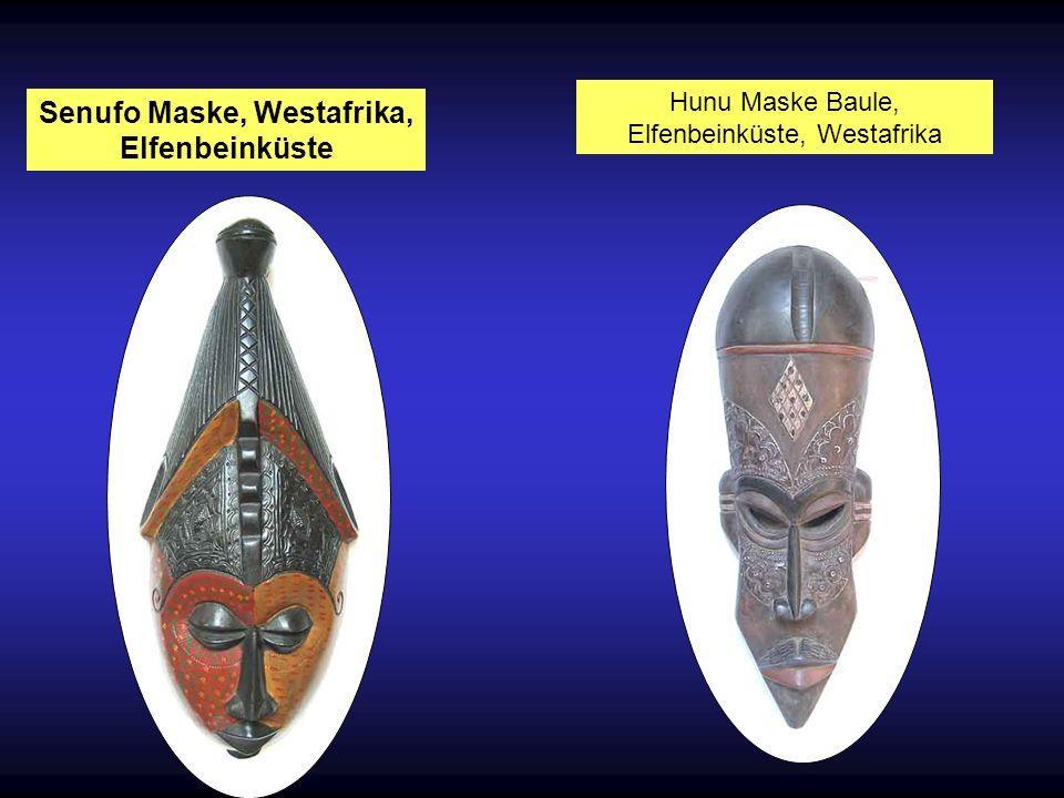 AFRIKANISCHE MASKEN In der afrikanischen Kunst verkörpern Masken die Ahnen, Geister oder andere Wesen. Sie werden getragen bei wichtigen Zeremonien, I
