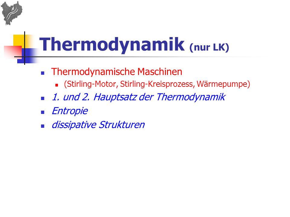 Thermodynamik (nur LK) Thermodynamische Maschinen (Stirling-Motor, Stirling-Kreisprozess, Wärmepumpe) 1. und 2. Hauptsatz der Thermodynamik Entropie d