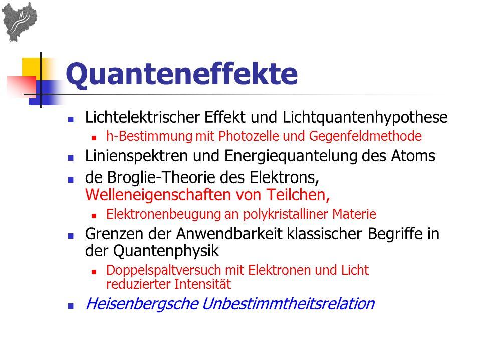 Quanteneffekte Lichtelektrischer Effekt und Lichtquantenhypothese h-Bestimmung mit Photozelle und Gegenfeldmethode Linienspektren und Energiequantelun