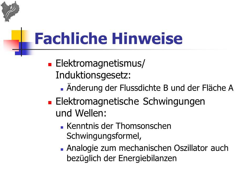 Fachliche Hinweise Elektromagnetismus/ Induktionsgesetz: Änderung der Flussdichte B und der Fläche A Elektromagnetische Schwingungen und Wellen: Kennt