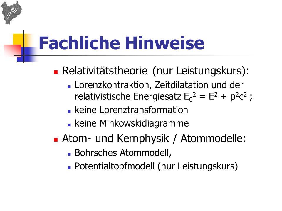 Fachliche Hinweise Relativitätstheorie (nur Leistungskurs): Lorenzkontraktion, Zeitdilatation und der relativistische Energiesatz E 0 2 = E 2 + p 2 c