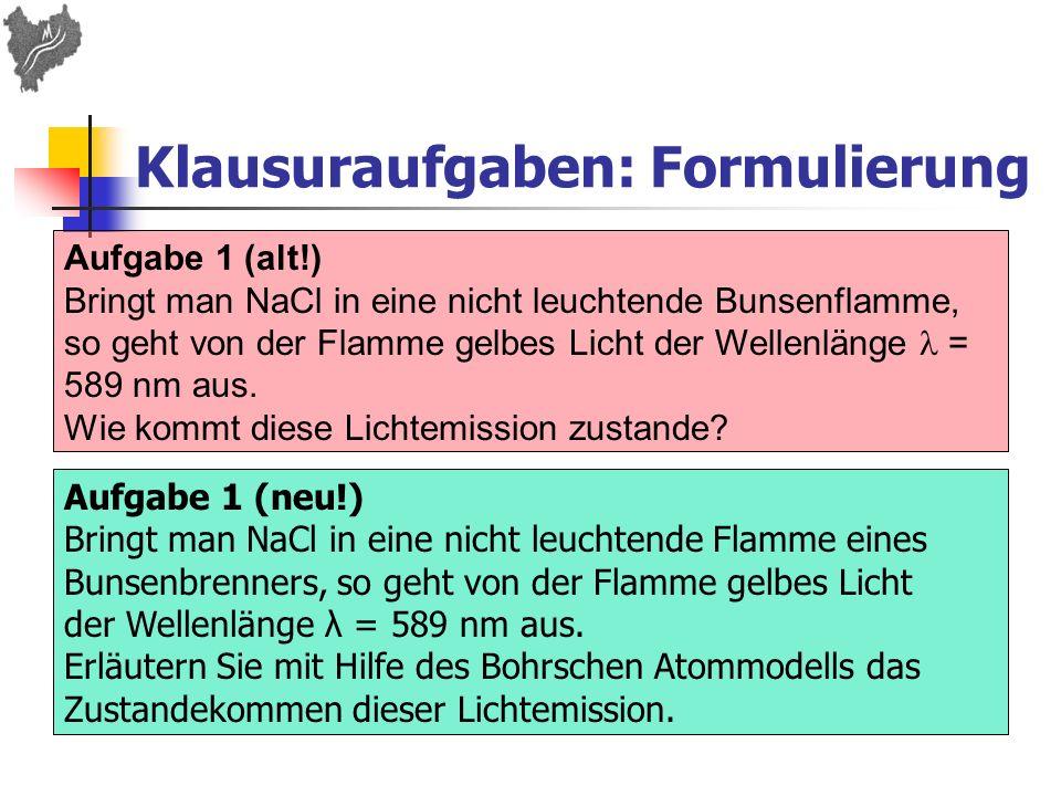 Klausuraufgaben: Formulierung Aufgabe 1 (alt!) Bringt man NaCl in eine nicht leuchtende Bunsenflamme, so geht von der Flamme gelbes Licht der Wellenlä