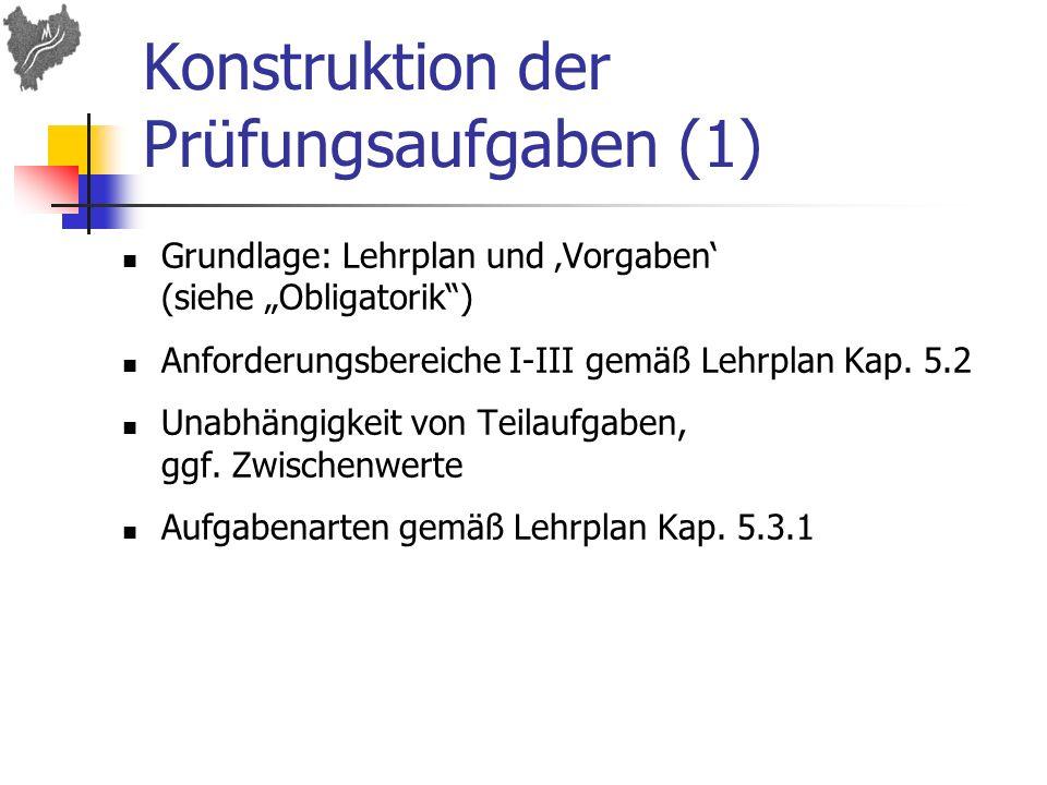 Konstruktion der Prüfungsaufgaben (1) Grundlage: Lehrplan und Vorgaben (siehe Obligatorik) Anforderungsbereiche I-III gemäß Lehrplan Kap. 5.2 Unabhäng