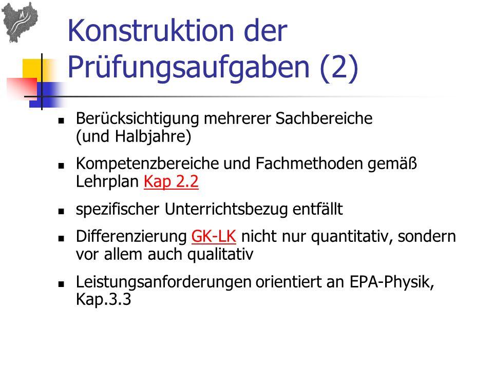 Konstruktion der Prüfungsaufgaben (2) Berücksichtigung mehrerer Sachbereiche (und Halbjahre) Kompetenzbereiche und Fachmethoden gemäß Lehrplan Kap 2.2