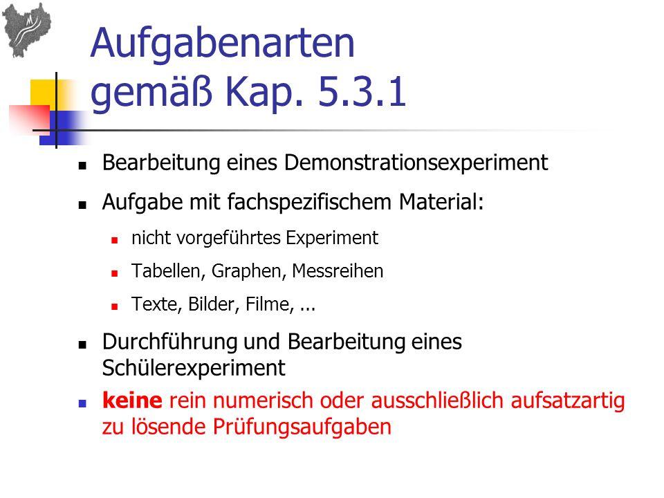 Aufgabenarten gemäß Kap. 5.3.1 Bearbeitung eines Demonstrationsexperiment Aufgabe mit fachspezifischem Material: nicht vorgeführtes Experiment Tabelle