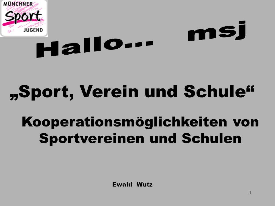 Ewald Wutz Möglichkeiten für eine msj - Kooperation DSU Differenzierter Sportunterricht Ganztagsangebote Mitwirkung bei Projekttagen Spiel- und Sportfesten Sport nach 1 Sportarbeitsgemeinschaften SAGs 27