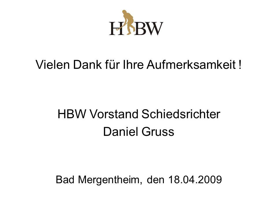 Vielen Dank für Ihre Aufmerksamkeit ! HBW Vorstand Schiedsrichter Daniel Gruss Bad Mergentheim, den 18.04.2009