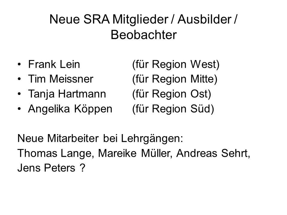Neue SRA Mitglieder / Ausbilder / Beobachter Frank Lein(für Region West) Tim Meissner(für Region Mitte) Tanja Hartmann(für Region Ost) Angelika Köppen