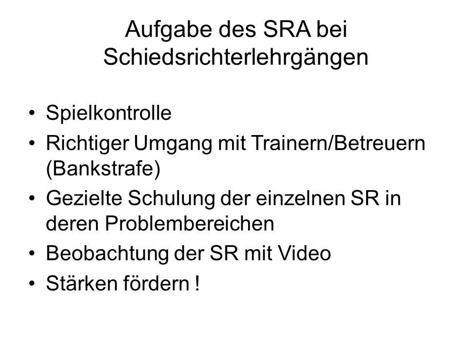 Aufgabe des SRA bei Schiedsrichterlehrgängen Spielkontrolle Richtiger Umgang mit Trainern/Betreuern (Bankstrafe) Gezielte Schulung der einzelnen SR in deren Problembereichen Beobachtung der SR mit Video Stärken fördern !