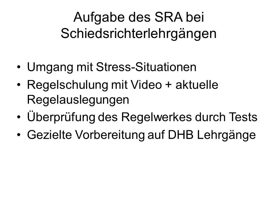 Umgang mit Stress-Situationen Regelschulung mit Video + aktuelle Regelauslegungen Überprüfung des Regelwerkes durch Tests Gezielte Vorbereitung auf DHB Lehrgänge Aufgabe des SRA bei Schiedsrichterlehrgängen