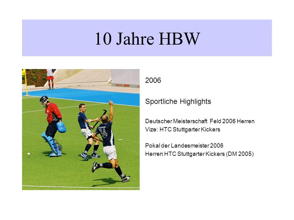 10 Jahre HBW 2006 Sportliche Highlights Deutscher Meisterschaft Feld 2006 Herren Vize: HTC Stuttgarter Kickers Pokal der Landesmeister 2006 Herren HTC Stuttgarter Kickers (DM 2005)