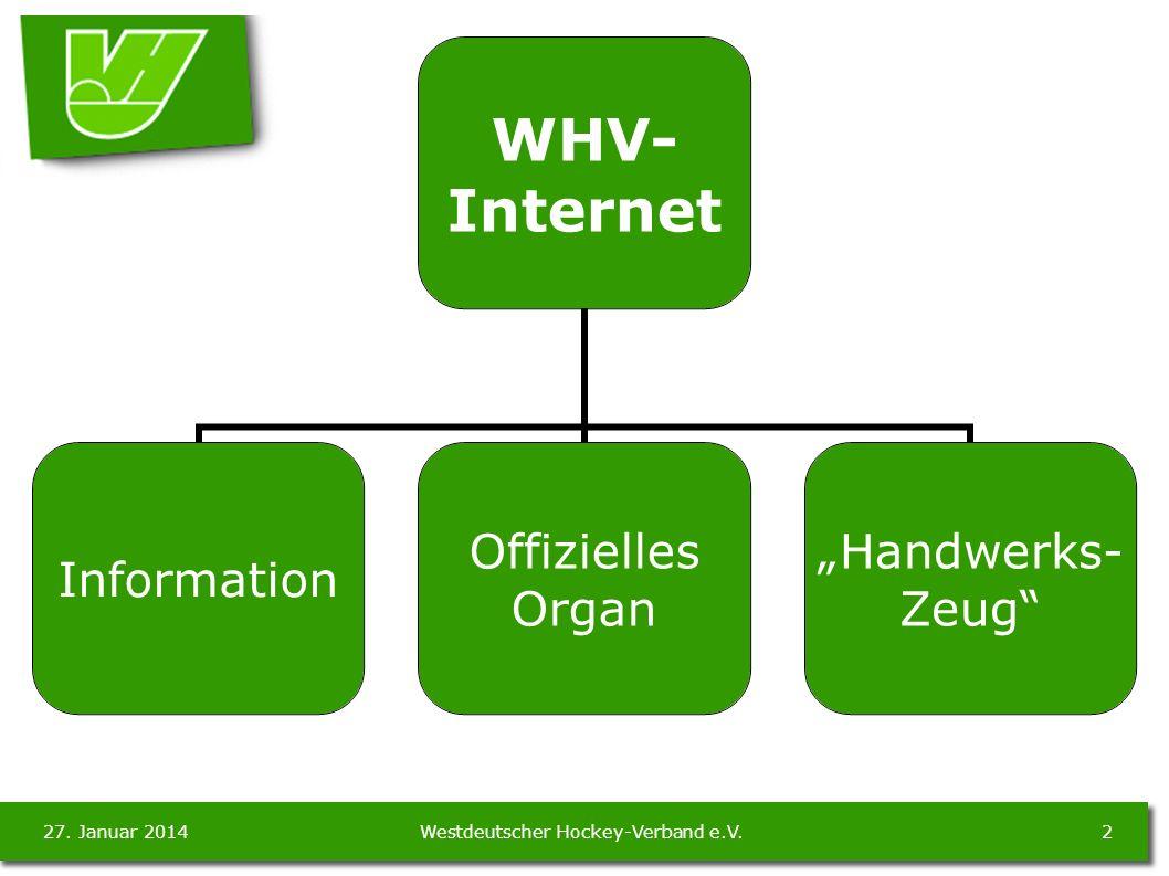 27.Januar 20143Westdeutscher Hockey-Verband e.V. WHV- Internet Information Informationen WHV (z.B.