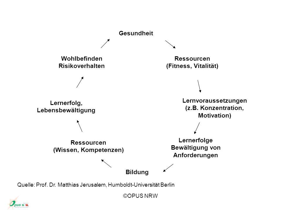©OPUS NRW Gesundheit Ressourcen (Fitness, Vitalität) Lernvoraussetzungen (z.B. Konzentration, Motivation) Bildung Lernerfolge Bewältigung von Anforder