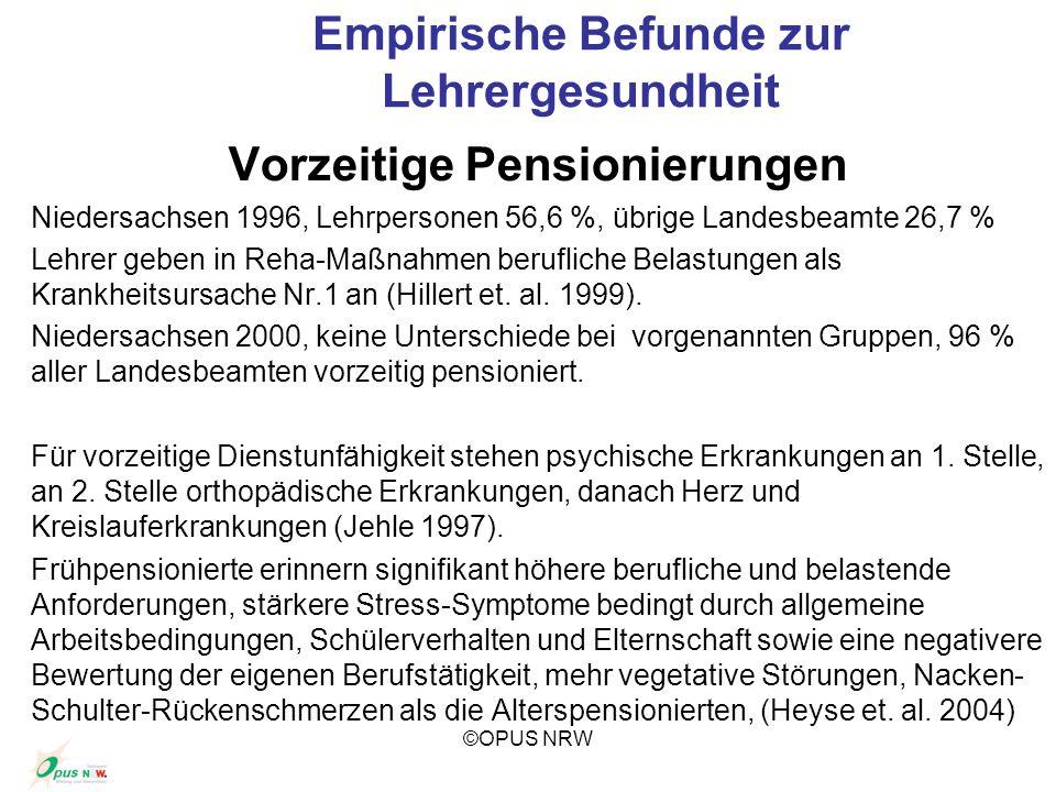 ©OPUS NRW Empirische Befunde zur Lehrergesundheit Vorzeitige Pensionierungen Niedersachsen 1996, Lehrpersonen 56,6 %, übrige Landesbeamte 26,7 % Lehre