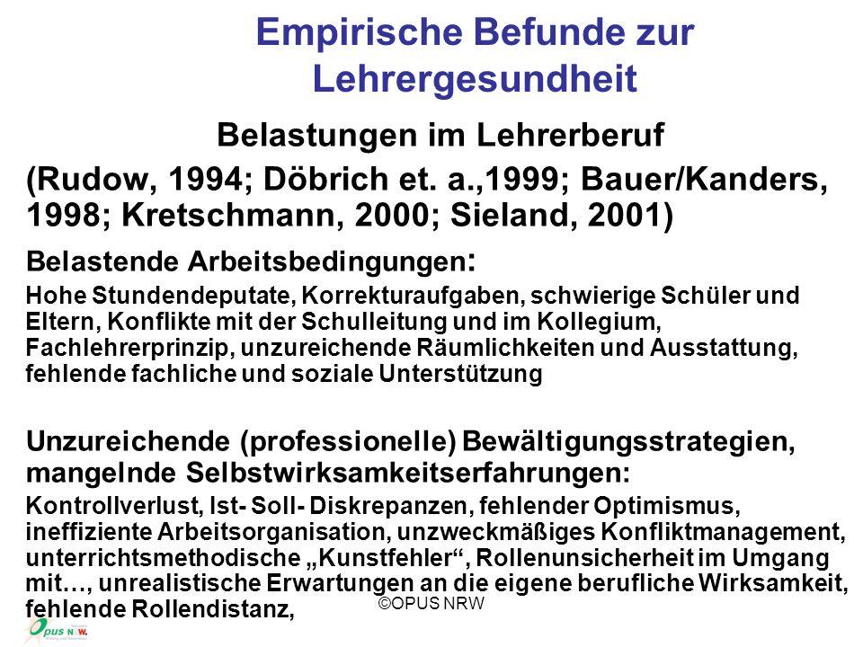 ©OPUS NRW Empirische Befunde zur Lehrergesundheit Belastungen im Lehrerberuf (Rudow, 1994; Döbrich et. a.,1999; Bauer/Kanders, 1998; Kretschmann, 2000