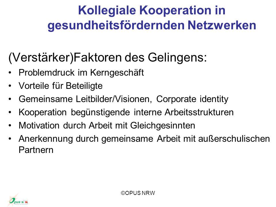 ©OPUS NRW Kollegiale Kooperation in gesundheitsfördernden Netzwerken (Verstärker)Faktoren des Gelingens: Problemdruck im Kerngeschäft Vorteile für Bet