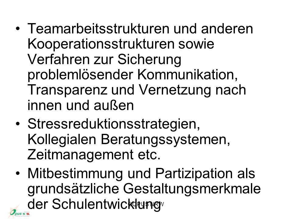 ©OPUS NRW Teamarbeitsstrukturen und anderen Kooperationsstrukturen sowie Verfahren zur Sicherung problemlösender Kommunikation, Transparenz und Vernet