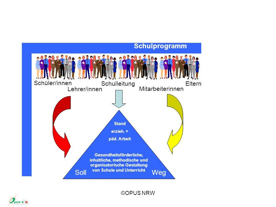 ©OPUS NRW Schüler/innen Lehrer/innen SchulleitungEltern Mitarbeiterinnen Stand erzieh. + päd. Arbeit Gesundheitsförderliche, inhaltliche, methodische