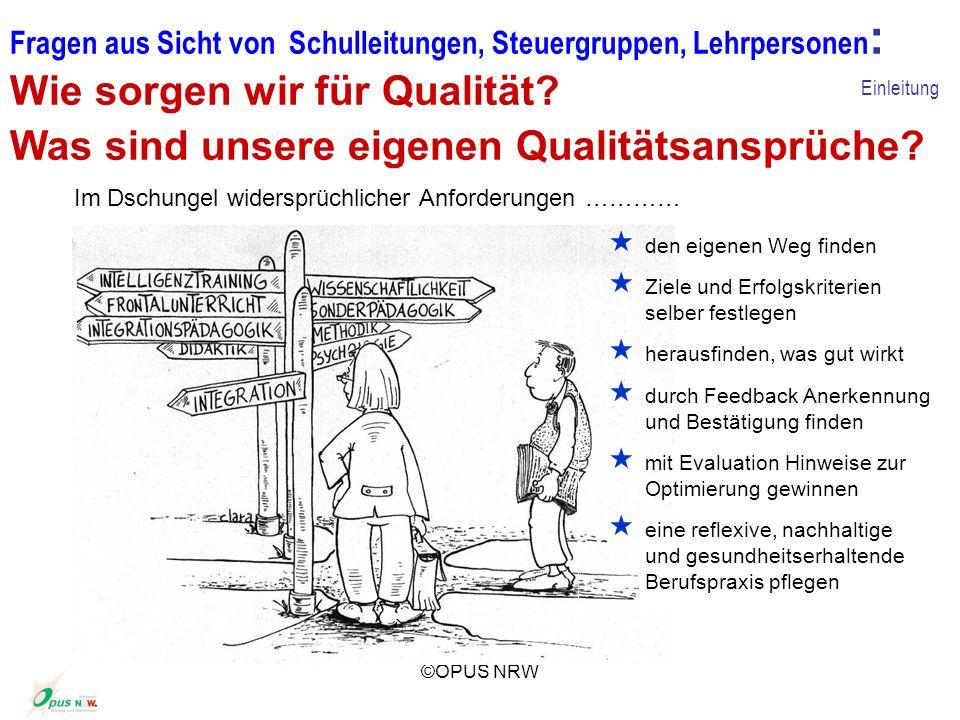 ©OPUS NRW Fragen aus Sicht von Schulleitungen, Steuergruppen, Lehrpersonen : Wie sorgen wir für Qualität? Was sind unsere eigenen Qualitätsansprüche?