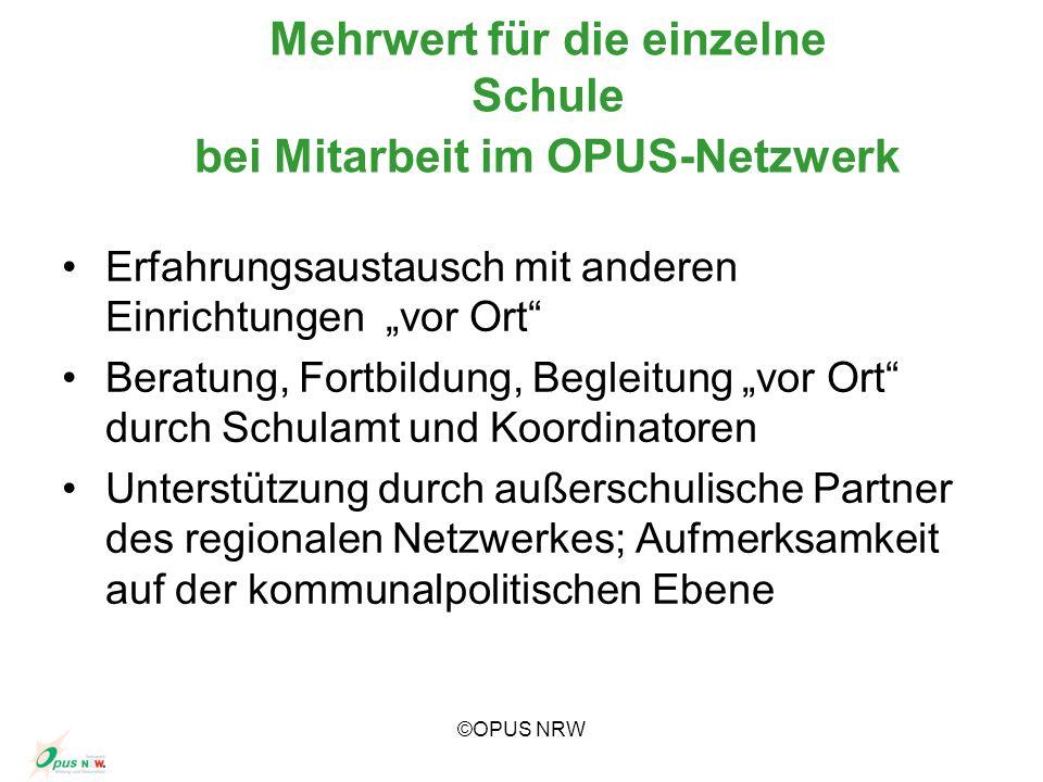 ©OPUS NRW Mehrwert für die einzelne Schule bei Mitarbeit im OPUS-Netzwerk Erfahrungsaustausch mit anderen Einrichtungen vor Ort Beratung, Fortbildung,