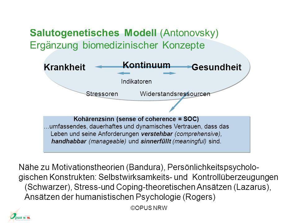, Salutogenetisches Modell (Antonovsky) Ergänzung biomedizinischer Konzepte KrankheitGesundheit Kontinuum Indikatoren StressorenWiderstandsressourcen