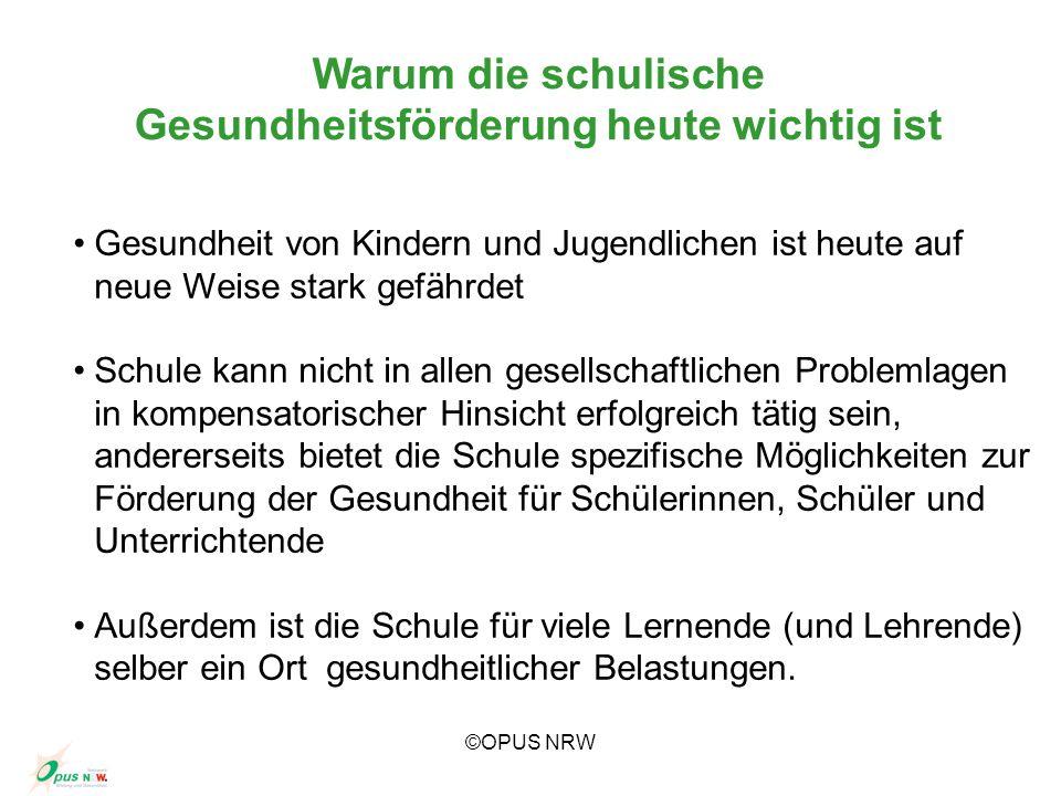 ©OPUS NRW Gesundheit Leistung/Bildung Wer Leistung/Bildung will, muss Gesundheit fördern.