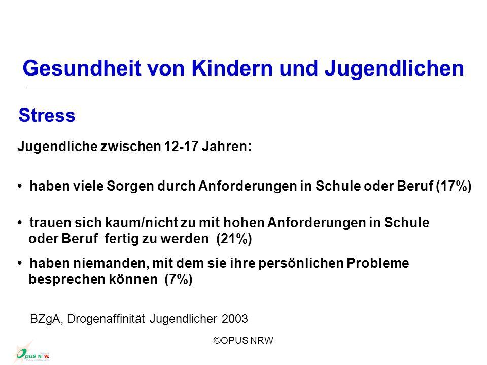 ©OPUS NRW Gesundheit von Kindern und Jugendlichen Stress Jugendliche zwischen 12-17 Jahren: haben viele Sorgen durch Anforderungen in Schule oder Beru