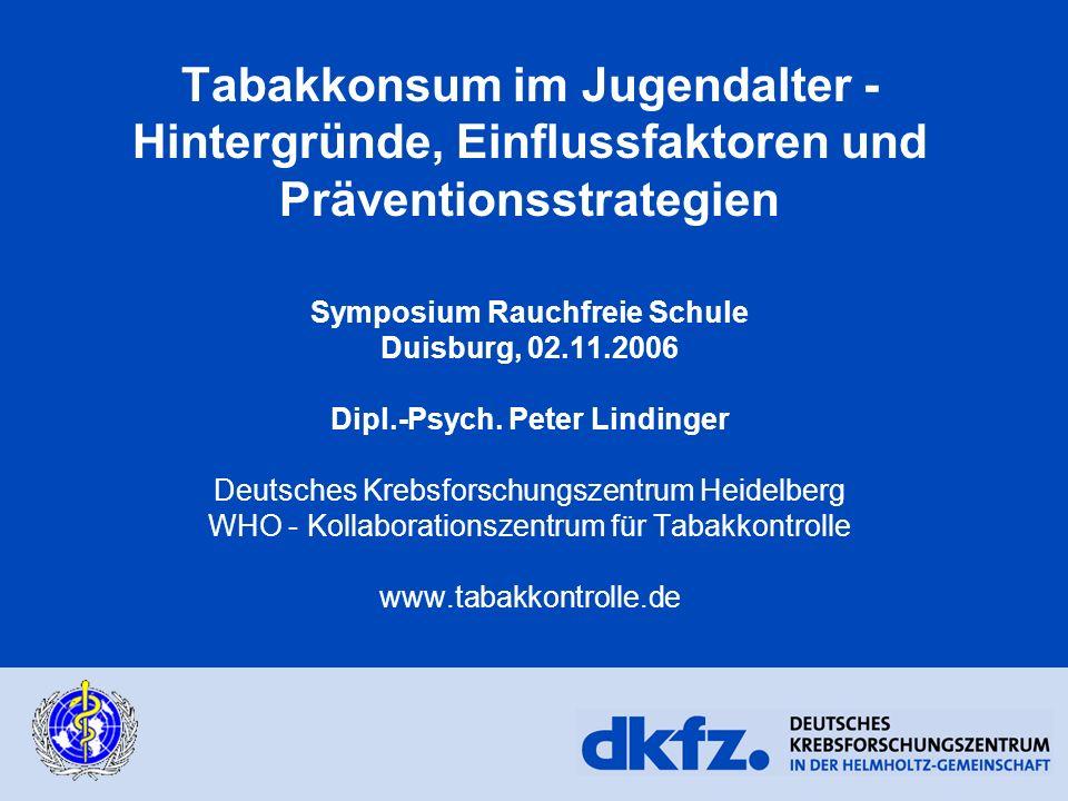 Tabakkonsum im Jugendalter - Hintergründe, Einflussfaktoren und Präventionsstrategien Symposium Rauchfreie Schule Duisburg, 02.11.2006 Dipl.-Psych. Pe