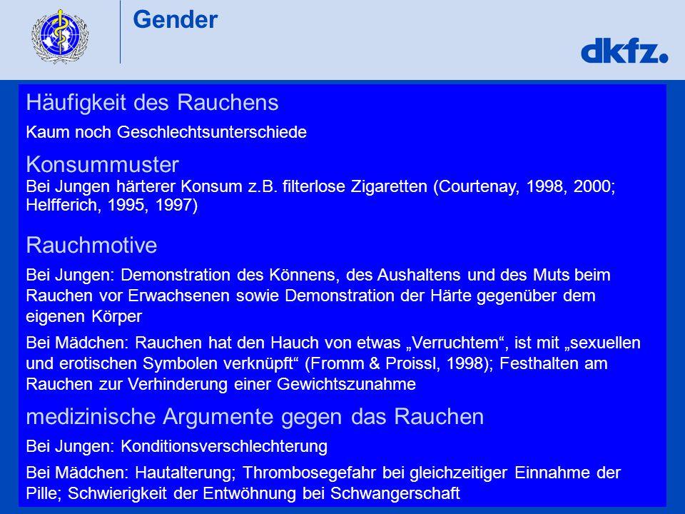 Gender Häufigkeit des Rauchens Kaum noch Geschlechtsunterschiede Konsummuster Bei Jungen härterer Konsum z.B. filterlose Zigaretten (Courtenay, 1998,