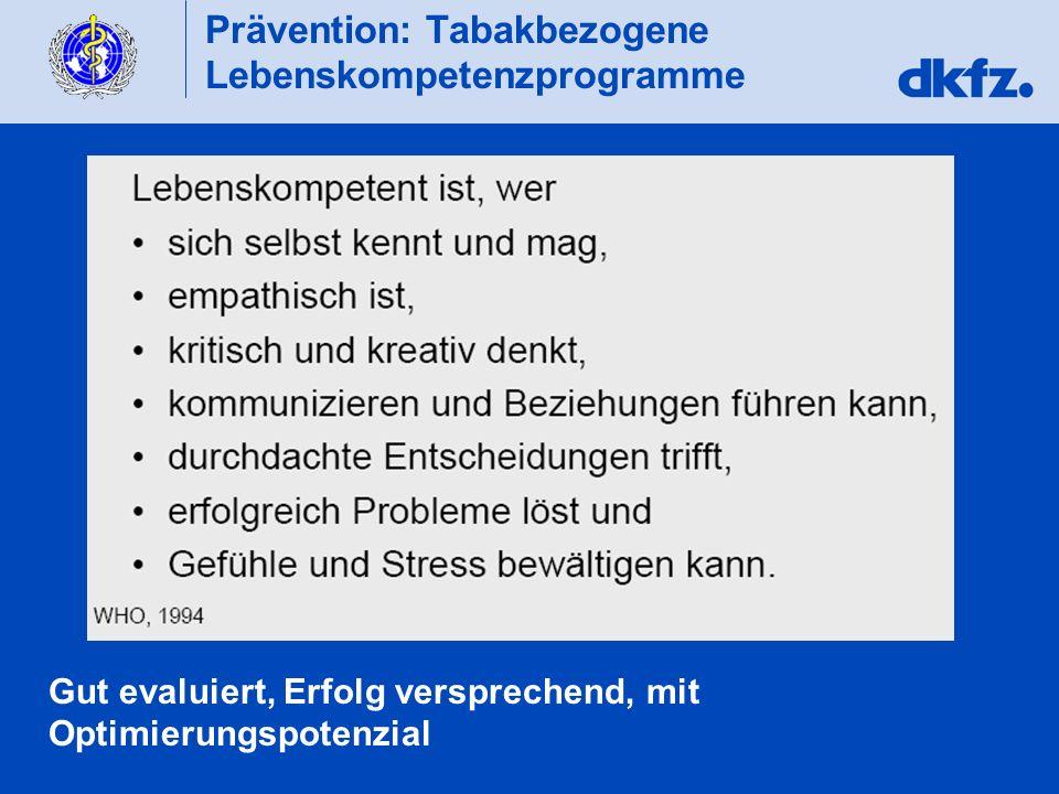 Prävention: Tabakbezogene Lebenskompetenzprogramme Gut evaluiert, Erfolg versprechend, mit Optimierungspotenzial
