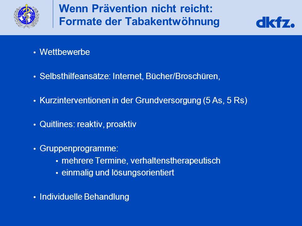 Wenn Prävention nicht reicht: Formate der Tabakentwöhnung Wettbewerbe Selbsthilfeansätze: Internet, Bücher/Broschüren, Kurzinterventionen in der Grund