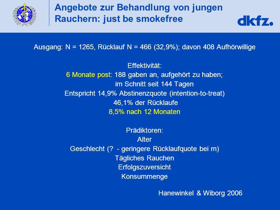 Angebote zur Behandlung von jungen Rauchern: just be smokefree Ausgang: N = 1265, Rücklauf N = 466 (32,9%); davon 408 Aufhörwillige Effektivität: 6 Mo