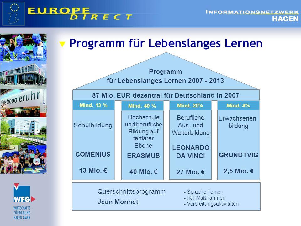 Programm für Lebenslanges Lernen HAGEN Schulbildung COMENIUS 13 Mio. Hochschule und berufliche Bildung auf tertiärer Ebene ERASMUS 40 Mio. Berufliche