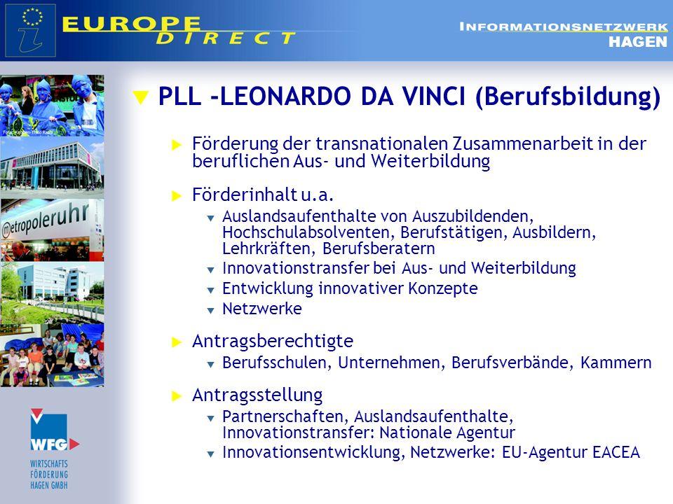PLL -LEONARDO DA VINCI (Berufsbildung) Förderung der transnationalen Zusammenarbeit in der beruflichen Aus- und Weiterbildung Förderinhalt u.a. Auslan