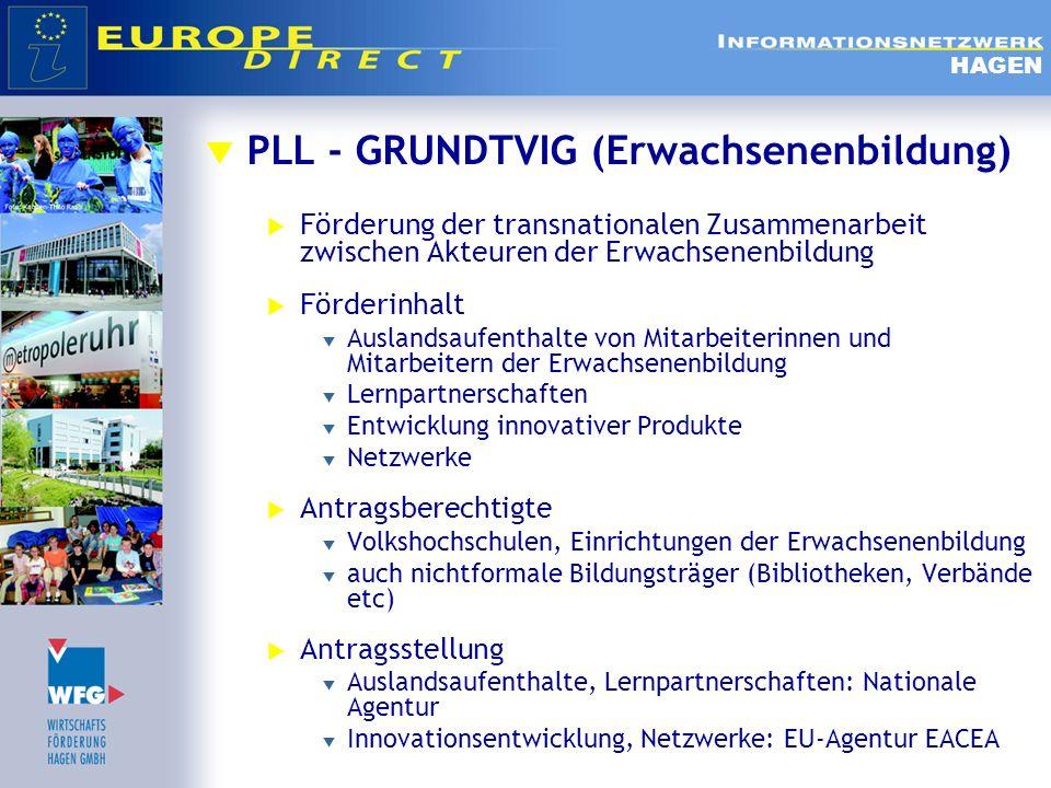 PLL - GRUNDTVIG (Erwachsenenbildung) Förderung der transnationalen Zusammenarbeit zwischen Akteuren der Erwachsenenbildung Förderinhalt Auslandsaufent