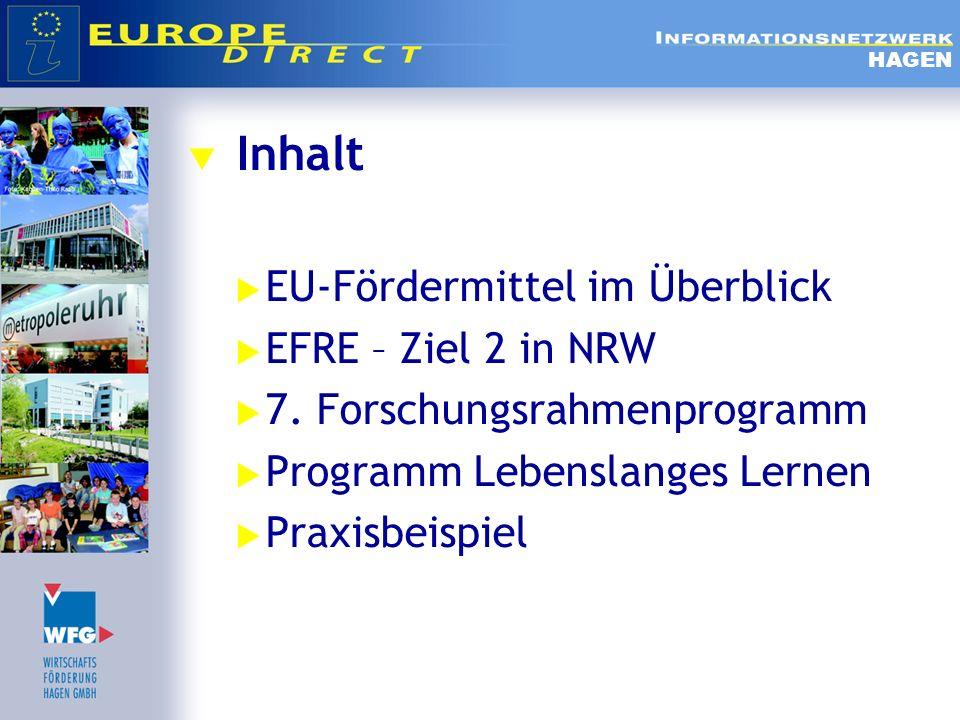 Inhalt EU-Fördermittel im Überblick EFRE – Ziel 2 in NRW 7. Forschungsrahmenprogramm Programm Lebenslanges Lernen Praxisbeispiel HAGEN