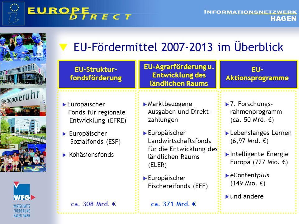 EU-Fördermittel 2007-2013 im Überblick HAGEN Europäischer Fonds für regionale Entwicklung (EFRE) Europäischer Sozialfonds (ESF) Kohäsionsfonds Marktbe