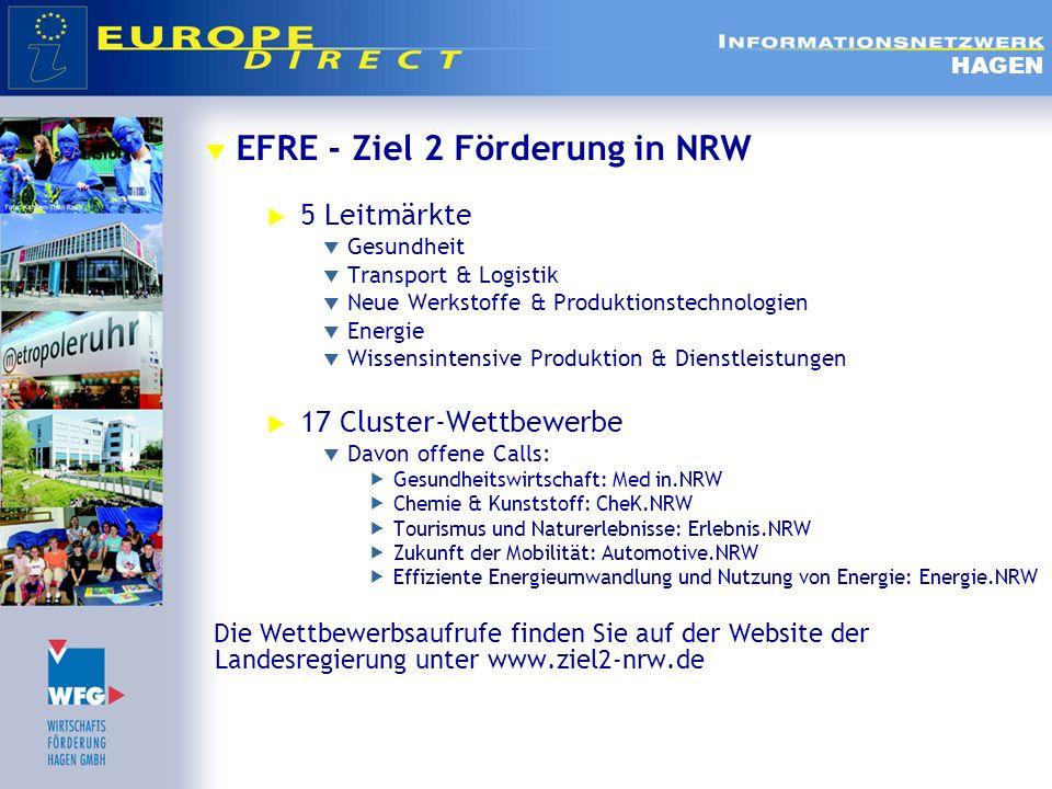 EFRE - Ziel 2 Förderung in NRW 5 Leitmärkte Gesundheit Transport & Logistik Neue Werkstoffe & Produktionstechnologien Energie Wissensintensive Produkt